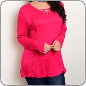 Tops - Pink Long Sleeve Top 1X